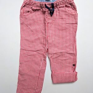 Mini Boden Baby Plaid Gingham Red/White Roll Cuff